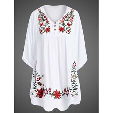 US Seller NWT L White Floral Embroidery Large Polyester Tunic Blouse Top Shirt