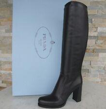 Prada de lujo botas talla 39 botas zapatos ternero 1w158g negro nuevo ex. PVP 1250 €