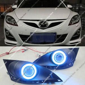 For Mazda 6 2010-2013  Fog Lights Kit & COB Lens Angel Eye Bumper Cover Lens k