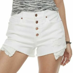 MUDD Junior's 15 High Rise White Shortie FLX Stretch Cotton Rayon Distressed