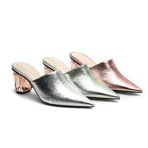 Women's Slides Mid Heel Mules Microfiber Leather Pointed Toe Shoes US Size 4~12