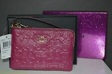 Authentic Coach Cranberry Phone Wallet Wristlet Purse Gift Box F64652 $85 V-DAY