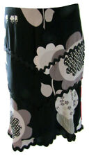 Nanette Lepore Black, White and Taupe Floral Silk Skirt Size 4