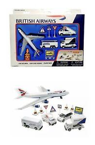 British Airways Airport Play Set - Boeing 747 Plane - Die-Cast Metal - New