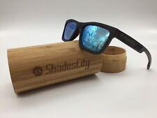Men's 2020 Handcrafted Black Skate Wood Frame Blue Mirror Polarized Sunglasses