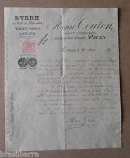 LETTRE BYRRH Henri Coulon Agent & Dépositaire Rouen le 28 août 1897