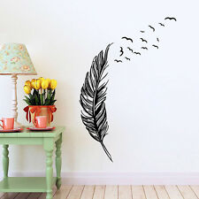 Removable Feather Design Wall Stickers Home Living Room Art DIY Decor Sticker