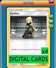 4x Cynthia 119/156 Ultra Prism PTCGO Online Digital Card