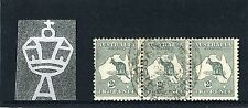 1913 2d Kangaroo 1st W/M Strip Of 3 With BW 5(1)j, 1L55, Retouch L/H Frame Used