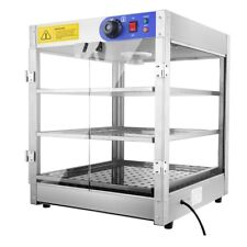 Commercial Food Warmer Court Heat Food Pizza Display Warmer Cabinet 3 Tier Glass