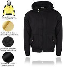Mens Motorbike Armour Protective Fleece Reinforced Biker Black Hoodie Jacket Top