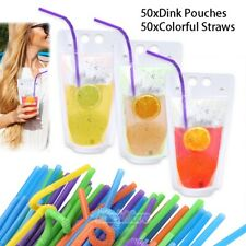 100 Drink Pouches Reusable Juice Smoothie Stand Up Zipper Bags with Straws Kit