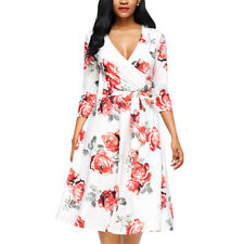 Autumn Floral Printed Women's Ladies V Neck Short Mini Dress 3/4 Sleeve Dresses