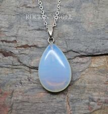 925 Silver Natural Sea Opal / Opalite Teardrop Necklace Pendant Reiki Healing