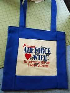 Tote Bag Embroidered handmade Shopping Bag Reversible proud air force wife