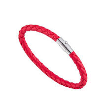 Punk Cool Womens Men Wide Handmade Leather Belt Bracelet Cuff Wristband Bangle Red