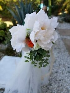 Wedding Chair Pew Decorations Real Touch flowers eucalyptus tulle