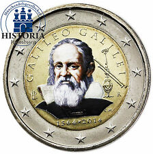 Italia 2 EURO MONETA COMMEMORATIVA 2014 BFR. Galileo Galilei in colore