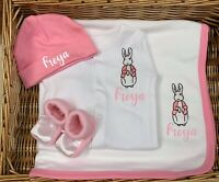 Personalised Peter Rabbit baby Sleepsuit Babygrow, Hat, booties, blanket Pyjamas