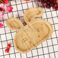 Baby Toddler Suction Plates Stay Feeding Plate Natural Bamboo Rabbit Shape ❤ ~