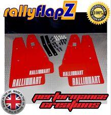 Mud Flaps & Fixings to fit MITSUBISHI LANCER RALLIART SPORTBACK -Red Logo White