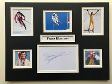 """Winter Olympics Skiing Franz Klammer Signed 16"""" X 12"""" Double Mounted Display"""