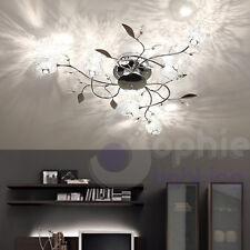 Plafoniera lampada soffitto design moderno acciaio cromo bracci foglie soggiorno