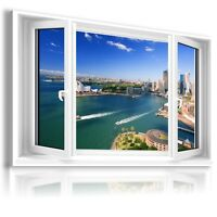 """3D SYDNEY Window View Canvas Wall Art Picture Large SIZE 33X20"""" W161"""