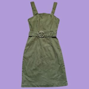 Womens Primark Denim Co Army Olive Green Apron Dress With Belt Size 6