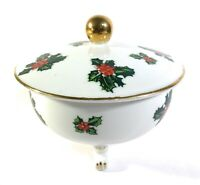 Vintage Lefton China Lid Christmas Holly 7943 Footed Accented Gold Sugar Candy