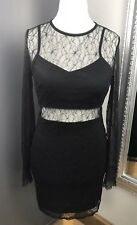 Forever 21 Lace Bodycon Black Dress, Fitted Size 12, Cocktail, Christmas Party