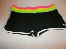 Roxy Juniors Size 7 Shorts Black with Rainbow Striped Waist Band