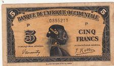 AFRIQUE OCCIDENTALE FRANCAISE 5 Frs 14-12-1942 état voir scan 211