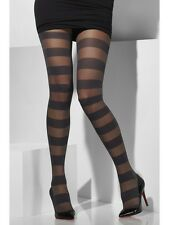 Block Stripe Ladies Sheer Black Tights Fancy Dress Accessory One Size
