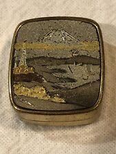 Vintage Brass Music Box Keychain Photo Locket  Mount Fuji JAPAN WORKS!