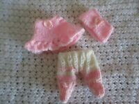 Doll Clothes white-pink Handknitted 3 pc set for mini baby fit Berenguer 5""