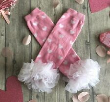 BABYS PINK LEG WARMERS, Baby Girl's Pink and White Love Heart Print Leg Warmers