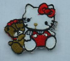 HELLO KITTY + TEDDY BEAR 4cm Embroidered Iron Sew On Cloth Patch Badge Applique
