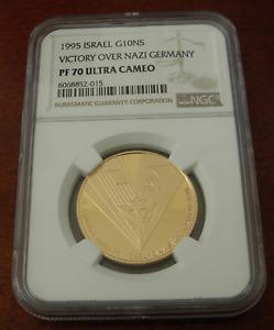 Israel 1995 Gold 1/2 oz 10 New Sheqalim NGC PF70UC Victory Over Nazi Germany