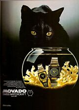 1982 Movado Watch Black Cat Fish Bowl Vintage Advertisement Print Ad VTG 80s