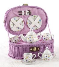 Delton Children's Porcelain Tea Set for 2 in Wicker Basket GUM DROP