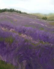 ACEO ATC Signed Print French Lavender Field France Art Artist Trading Card