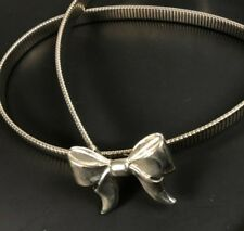 Vintage Metal Coil Snake Belt Silver Bow Buckle Stretch Skinny L XL Thin