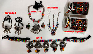 1 LOT Tribal Belly dance Gypsy Belt Armlet Headpiece Choker Earring Cuff Kuchi