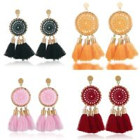 Women Fashion Bohemian JewelryEarrings Long Tassel Fringe Boho Stud Drop Dangle