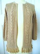 TOGETHER STONE CABLE KNIT TASSEL DETAIL CARDIGAN SIZE 8 BNWT RRP £59.00