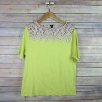 ANN TAYLOR Women's Top Sz XL Yellow Blouse Shirt Short Sleeve Lace