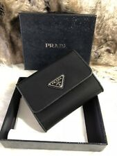 NWT Authentic Prada French Wallet in Black Nylon With Saffiano Leather Interior