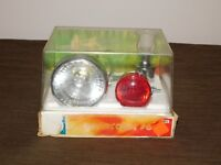 VINTAGE OLD  BICYCLE CYCLE LIGHT  RED TAIL LIGHT GENERATOR SET UNOPENED  CASE
