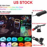 US 1-5M Led Flexible EL Wire Neon Glow Light + 3V/12V USB Controller Party Decor